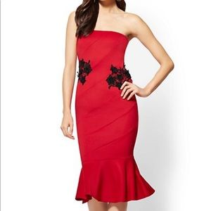 NWT NY&C Red Lace Accent Strapless Sheath Dress